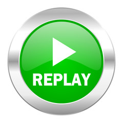 replay green circle chrome web icon isolated