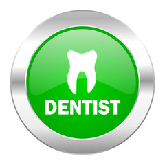 dentist green circle chrome web icon isolated
