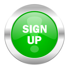 sign up green circle chrome web icon isolated