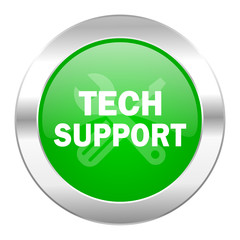 technical support green circle chrome web icon isolated