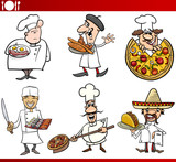 international cuisine chefs cartoons poster