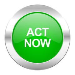 act now green circle chrome web icon isolated