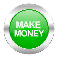 make money green circle chrome web icon isolated