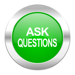 ask questions green circle chrome web icon isolated