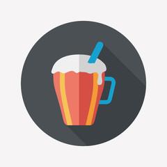 hot milk cream coffee flat icon with long shadow,eps10