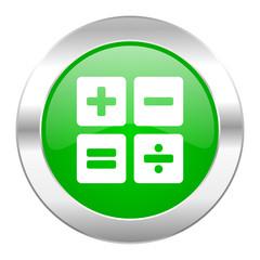 calculator green circle chrome web icon isolated