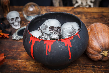Pot witches skulls to celebrate halloween