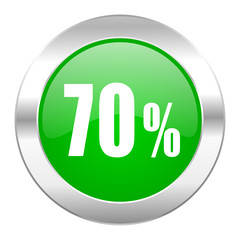 70 percent green circle chrome web icon isolated