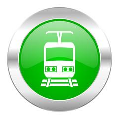 train green circle chrome web icon isolated