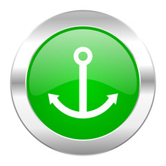 anchor green circle chrome web icon isolated