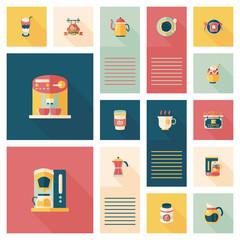 coffee flat ui background set, eps10