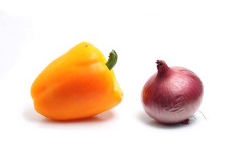 big  pepper and pink onion