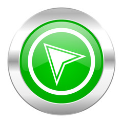 navigation green circle chrome web icon isolated