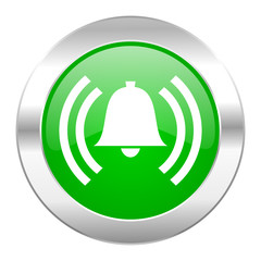 alarm green circle chrome web icon isolated