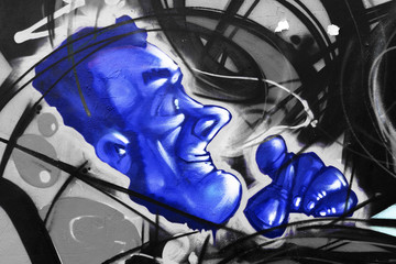 Mural colorful face blu, black and white