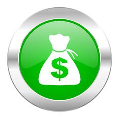 money green circle chrome web icon isolated