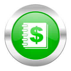 money green circle chrome web icon isolated