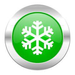 snow green circle chrome web icon isolated