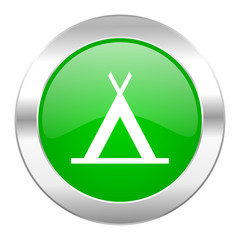 camp green circle chrome web icon isolated