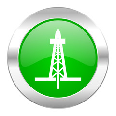 drilling green circle chrome web icon isolated