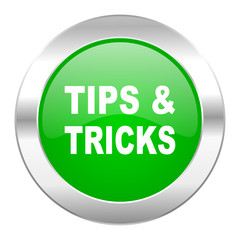 tips tricks green circle chrome web icon isolated