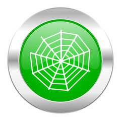 spider web green circle chrome web icon isolated