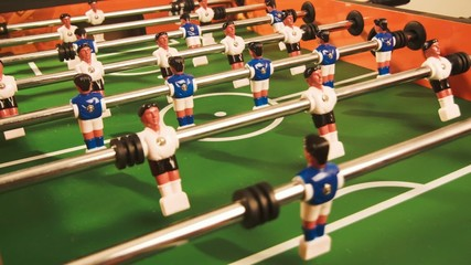 Table football. Game in process.