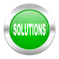 solutions green circle chrome web icon isolated