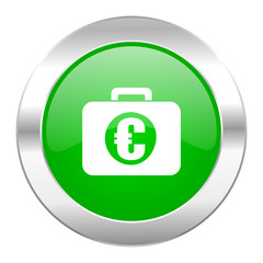 financial green circle chrome web icon isolated