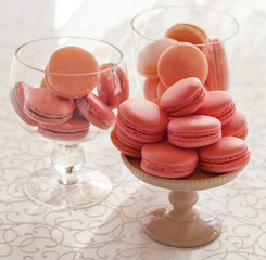 Macarons glass bowl on white background