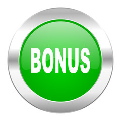 bonus green circle chrome web icon isolated