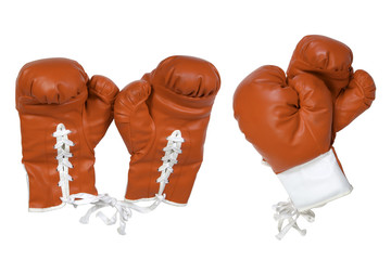 Pair of brown leather boxing gloves isolated on white