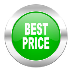 best price green circle chrome web icon isolated