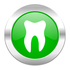 tooth green circle chrome web icon isolated