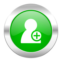 add contact green circle chrome web icon isolated