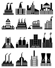 Factory buildings icons