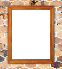 wood frame on  hexagonal clay wall