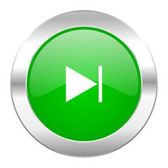 next green circle chrome web icon isolated
