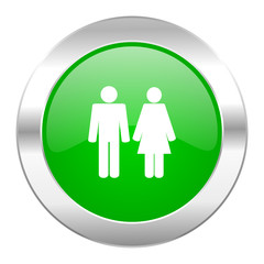 couple green circle chrome web icon isolated