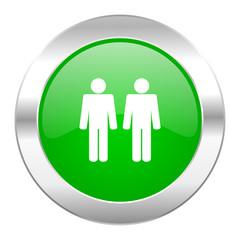 couple green circle chrome web icon isolated