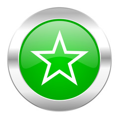 star green circle chrome web icon isolated