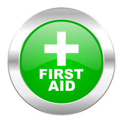 first aid green circle chrome web icon isolated