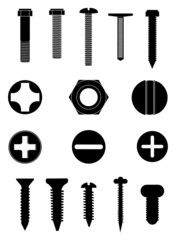 Screws and nuts icons set