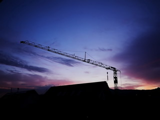 crane sunset building site