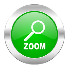 zoom green circle chrome web icon isolated