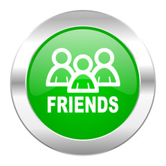 friends green circle chrome web icon isolated