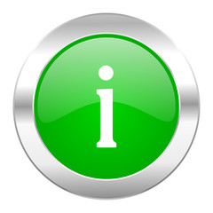 information green circle chrome web icon isolated