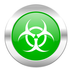 biohazard green circle chrome web icon isolated
