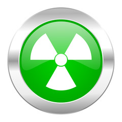 radiation green circle chrome web icon isolated