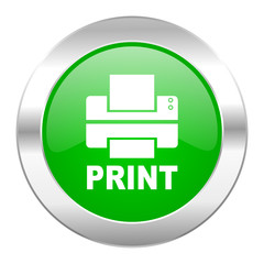 printer green circle chrome web icon isolated